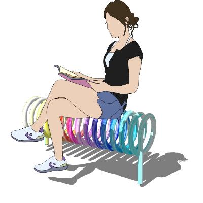 铁艺彩色户外休闲长凳
