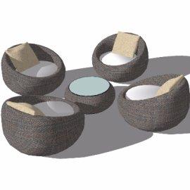 圆形户外棉麻座椅skp模型