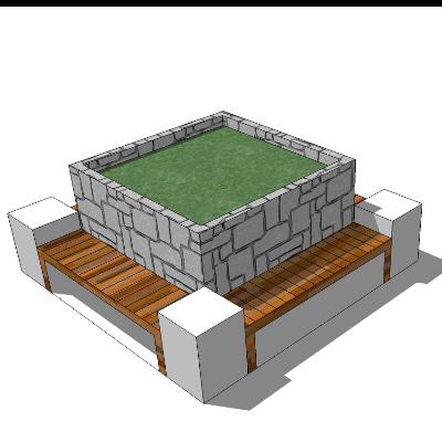 正方形石质绿植花坛+木质长凳SU模型