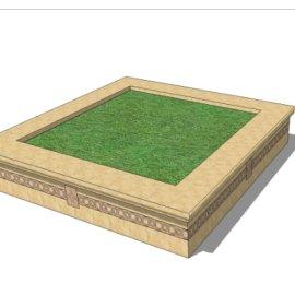 正方形贴砖绿植景观花台SU模型