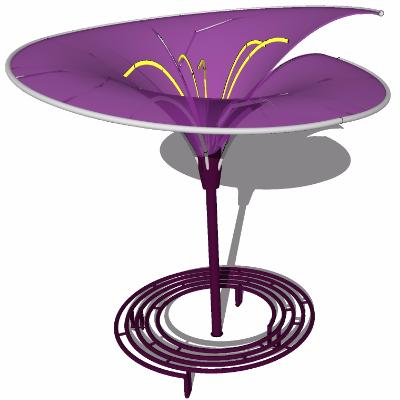 su喇叭花造型遮阳棚和环形户外公共长椅3D模型