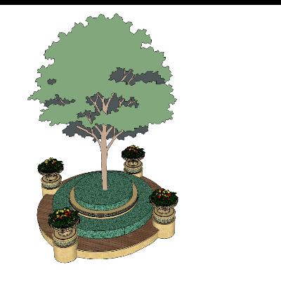 圆形木质花坛座椅+树模型