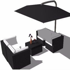 商务卡座式沙发(含茶几+遮阳伞)