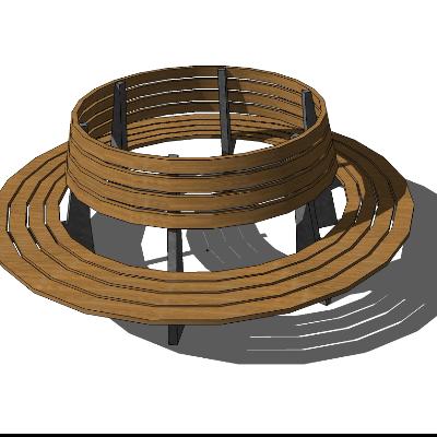 街头圆形休息区座椅模型