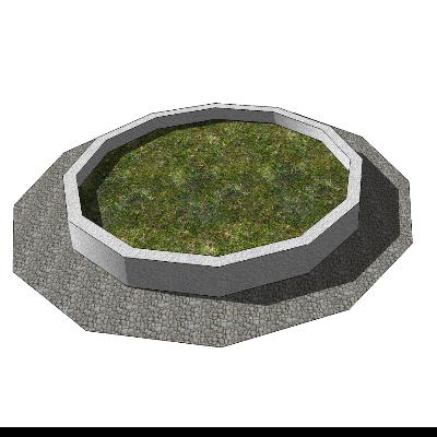 鹅卵石地面+多边形花园种植池模型