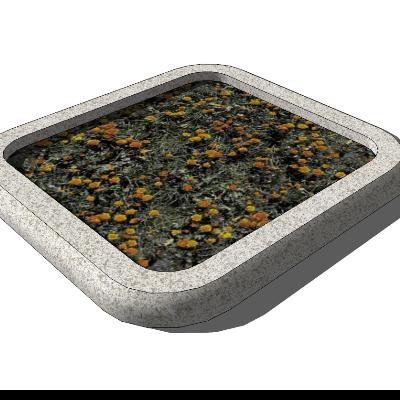 圆角方形种植池模型