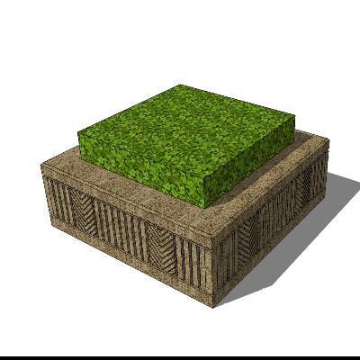 石质矩形花台SU模型