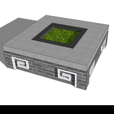 中国风创意灰砖矩形树池座椅