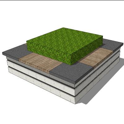矩形石质嵌木质树池座椅SU模型