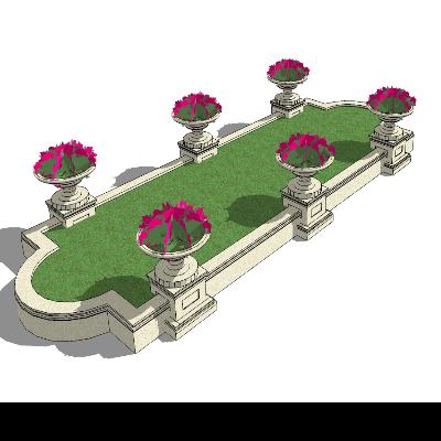 不规则椭圆花草种植池SU模型