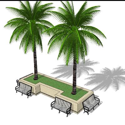 户外铁艺休息座椅与树池模型