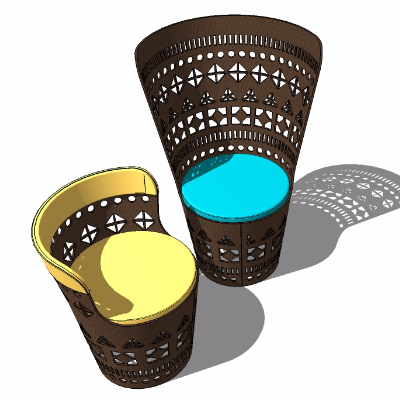 sketchup名族风手鼓造型座椅模型设计