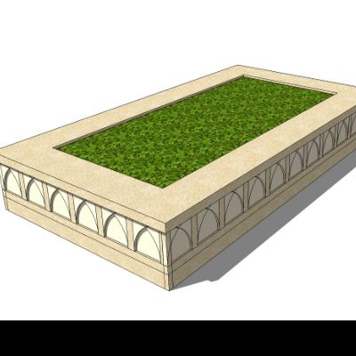 矩形刻花树池座椅sketchup模型