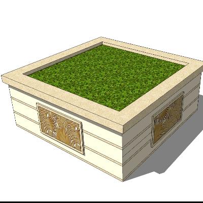 方形石质雕花花草种植池