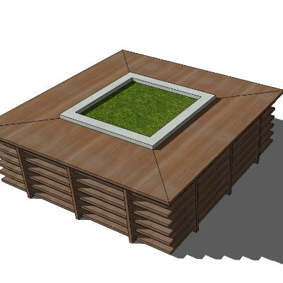 矩形木质种植池座椅sketchup素材