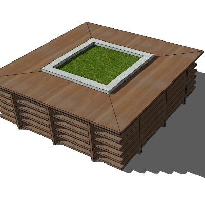 矩形木质种植池座椅SU模型