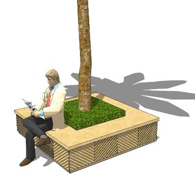 中式简约矩形石质树池座椅