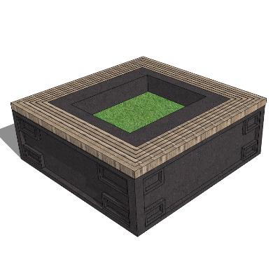 中式木质种植池座椅SU模型