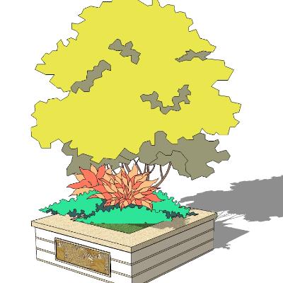 户外矩形树池模型素材