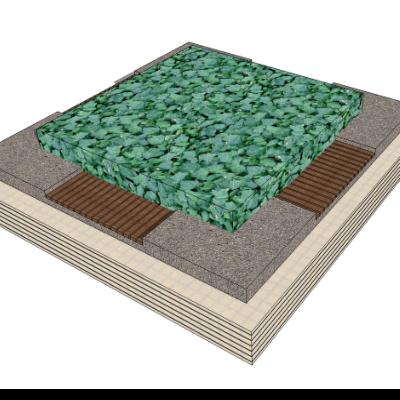 户外花园种植池座椅素材模型