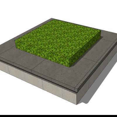 石质灰砖矩形树池座椅模型
