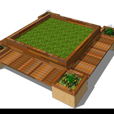 矩形木质种植池座椅sketchup模型素材
