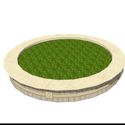 不规则圆形石质种植池坐凳sketchup模型素材