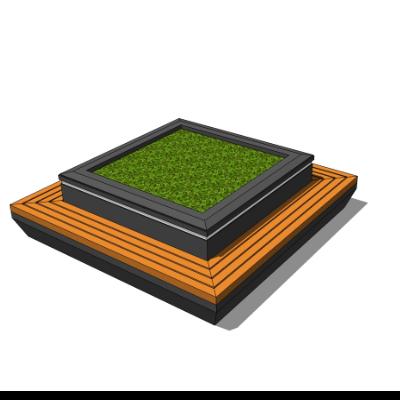 矩形木质种植池坐凳SU模型