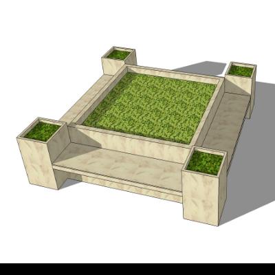 矩形石质种植池座椅模型素材