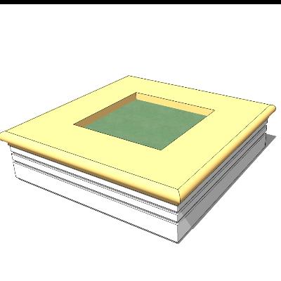 矩形石质简约种植池坐凳sketchup模型素材