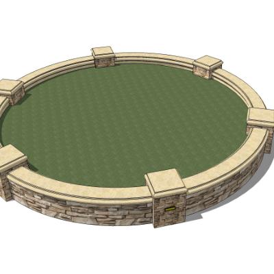 圆形种植池坐凳sketchup模型素材
