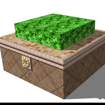 矩形种植池坐凳SU模型