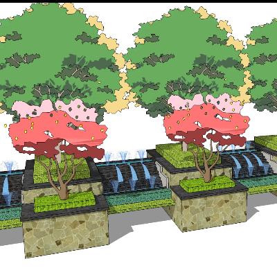 花园水池种植池sketchup模型素材