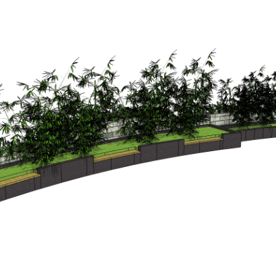 弧形种植池座椅sketchup模型素材