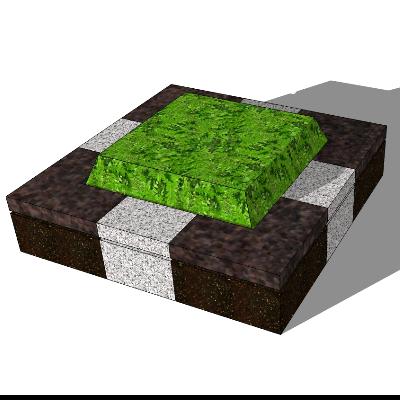 矩形石质种植池座椅sketchup素材