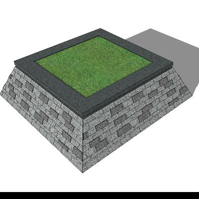 简约梯形种植池sketchup模型素材