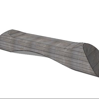 石质条形座椅sketchup模型素材