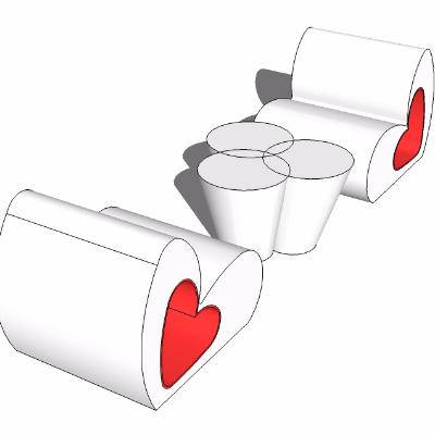 su爱心创意户外桌凳模型