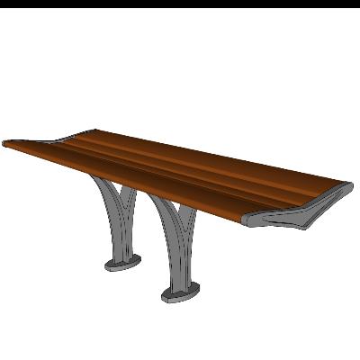 户外简约木质长凳模型素材