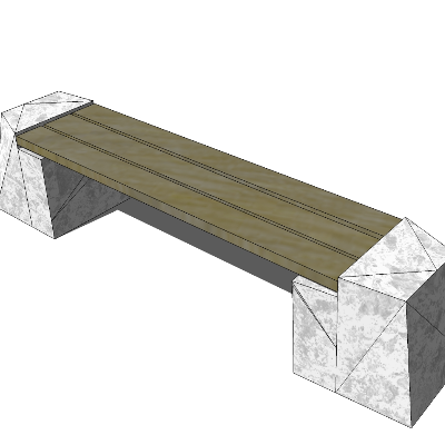 户外木质条形长凳SU模型