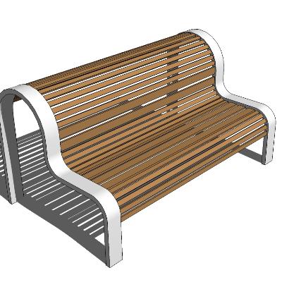 户外木质镂空座椅SU模型