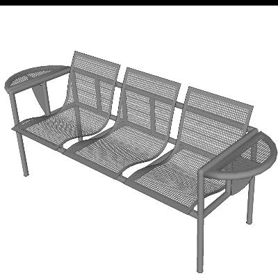 银色网状镂空组合座椅SU模型
