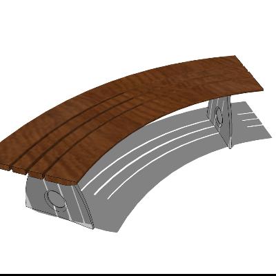 弧形木质长凳sketchup模型
