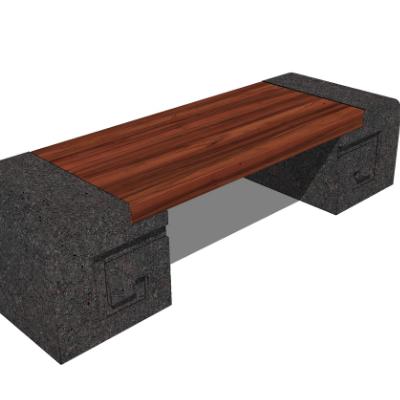 户外木质长凳SU模型素材