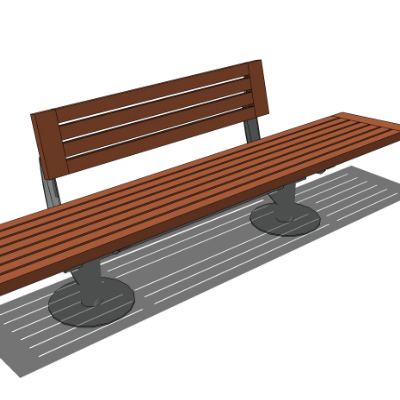 户外木质镂空条凳SU模型