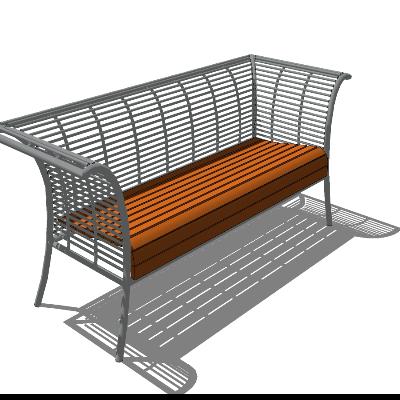 铁艺椅背与木质座椅sketchup模型素材