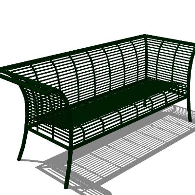 绿色铁艺镂空座椅SU模型