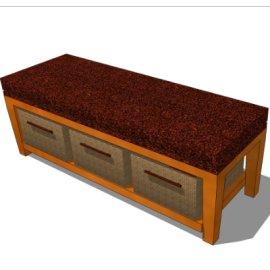 木质中国风长凳SU模型素材
