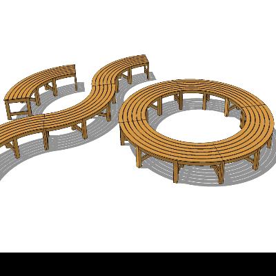 步行街圆形木质镂空长凳SU模型