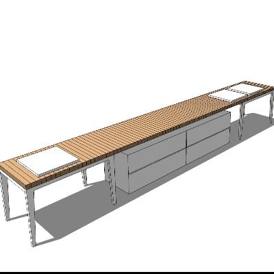 木质简约风格长凳带收纳柜SU模型